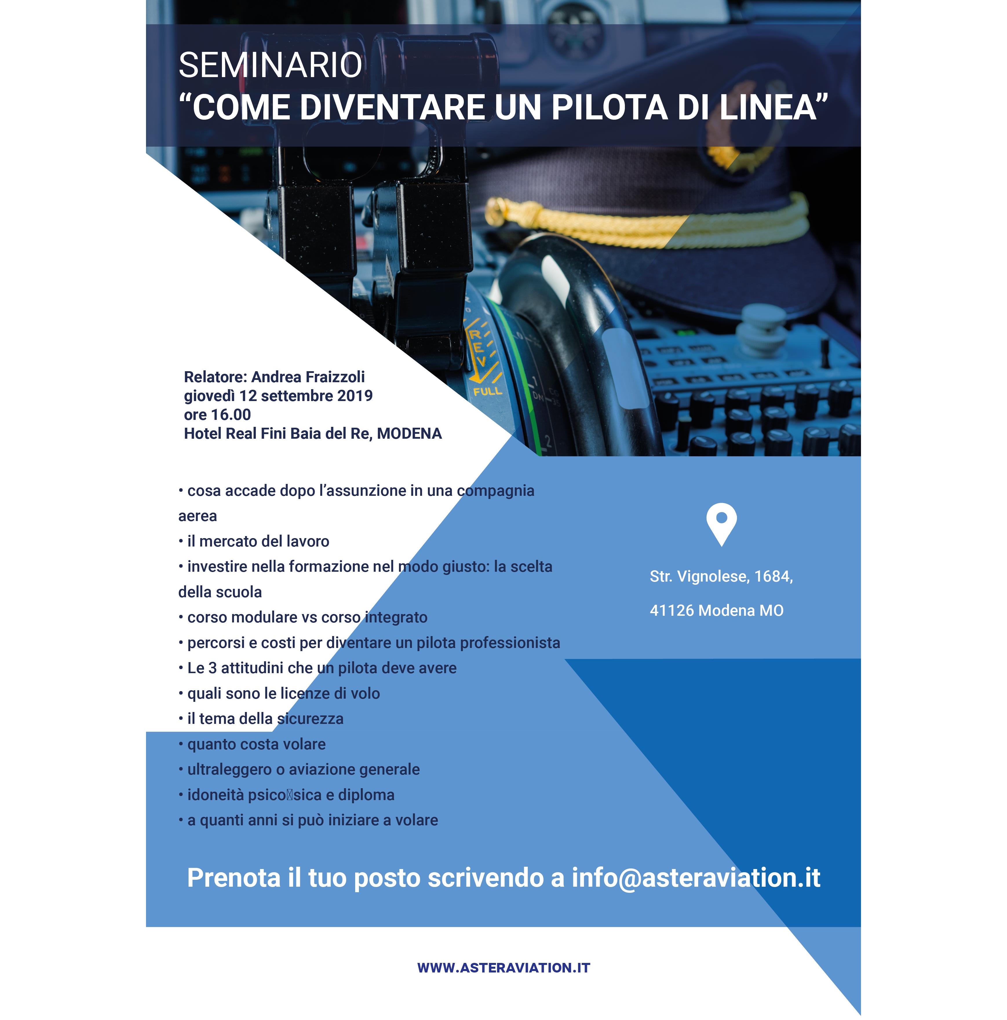 Seminario Asteraviation come diventare pilota di linea