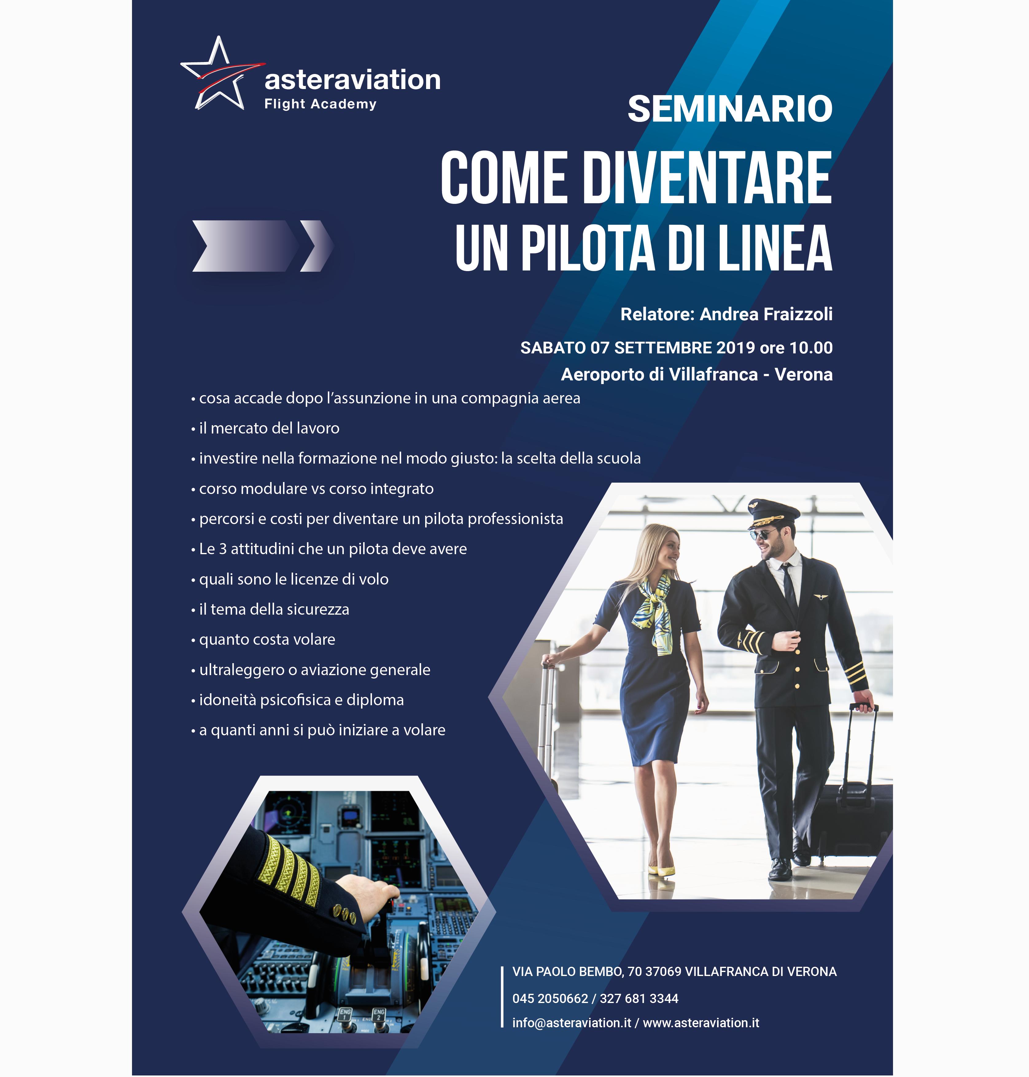 Diventa pilota di linea il seminario organizzato da Asteraviation