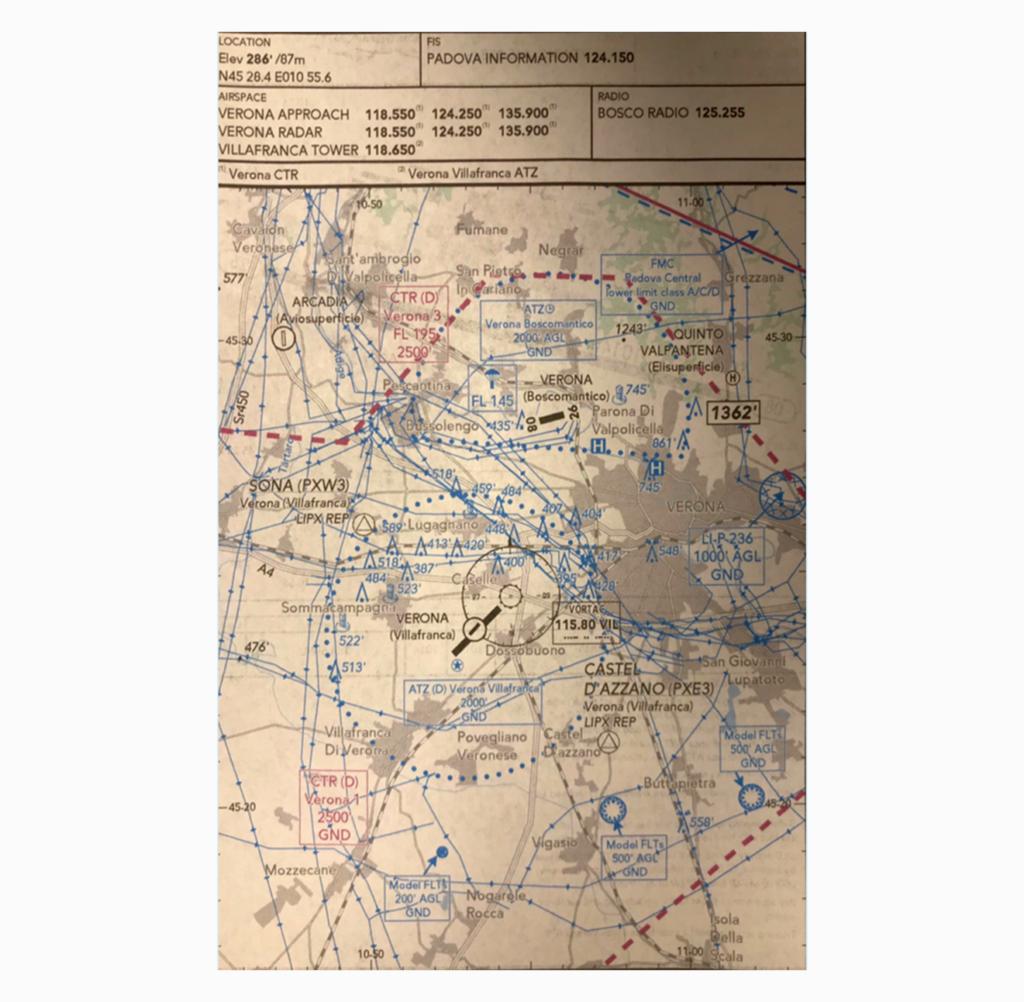 La mappa di navigazione dell'aeroporto di Boscomantico